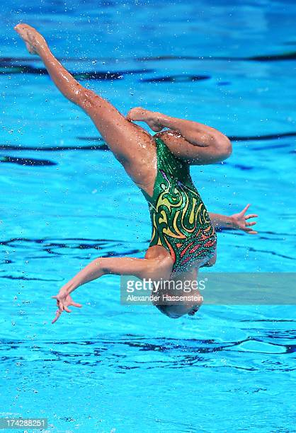 Japan compete in the Synchronized Swimming Team preliminary round on day four of the 15th FINA World Championships at Palau Sant Jordi on July 23...