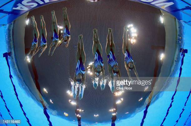 Japan compete in the Team Technical routine during the FINA Olympic Games Synchronised Swimming Qualification event at the London Aquatics Centre on...