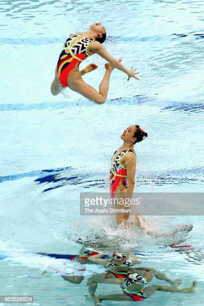 Japan competes in the Team Free Routine final on day three of the FINA Artistic Swimming Japan Open at the Tokyo Tatsumi International Swimming...