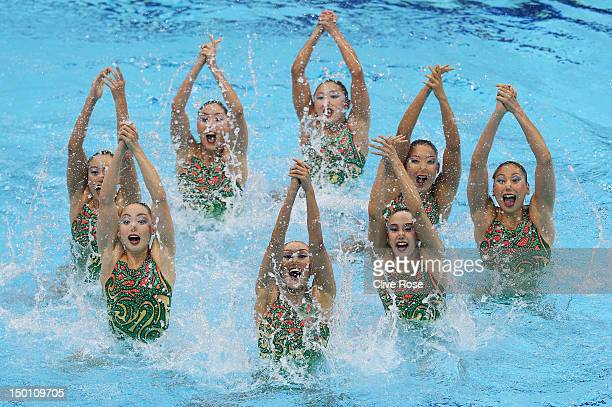 Japan competes in the Women's Teams Synchronised Swimming Free Routine final on Day 14 of the London 2012 Olympic Games at the Aquatics Centre on...