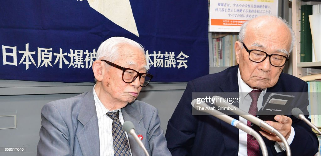 Japan Confederation of A- and H-Bomb Sufferers Organizations Co-Chairperson Terumi Tanaka (R) and advisor Mikiso Iwasa (L) speak during a press conference after the Nobel Peace Prize is announced on October 6, 2017 in Hiroshima, Japan. The Norwegian Nobel Committee announced that this year's Nobel Peace Prize was awarded to the International Campaign to Abolish Nuclear Weapons (ICAN), which contributed to the adoption in July of the Treaty on the Prohibition of Nuclear Weapons.
