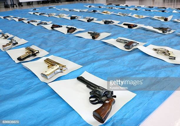 KUMAMOTO Japan Confiscated imitation guns are shown at a police station in Kumamoto City on April 9 2014