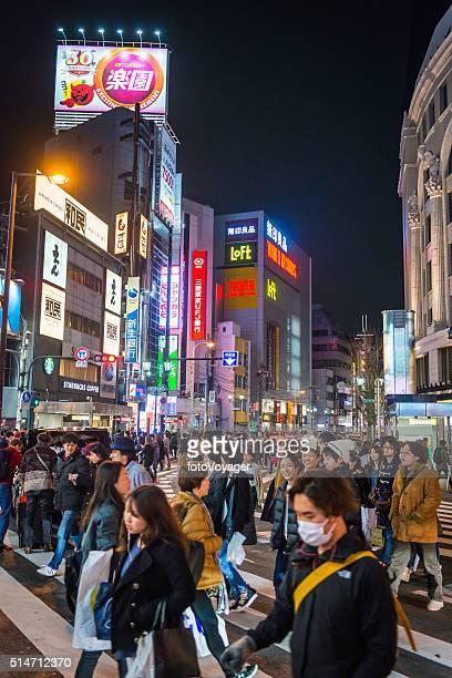 japan crowds on pedestrian crossing below neon lights namba osaka - kirurgmask bildbanksfoton och bilder