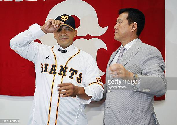 TOKYO Japan Cuban outfielder Frederich Cepeda and Yomiuri Giants manager Tatsunori Hara attend a press conference introducing Cepeda on May 12 in...