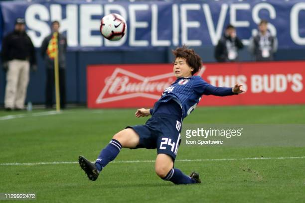 Japan defender Asato Miyagawa during the SheBelieves Cup match between Brazil and Japan at Nissan Stadium on March 2nd 2019 in Nashville Tennessee