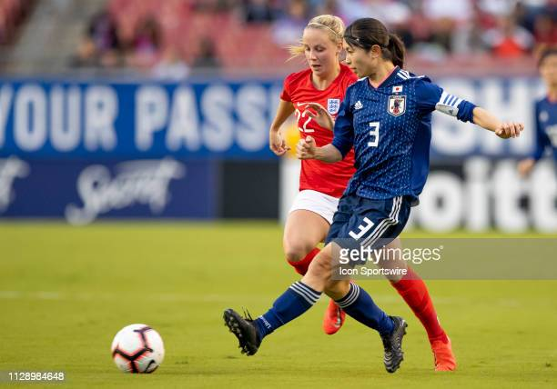 Japan defender Aya Sameshima passes the ball during the She Believes Cup match between the Japan and England on March 5 2019 at Raymond James Stadium...