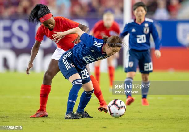Japan defender Risa Shimizu and England forward Chioma Ubogagu during the She Believes Cup match between the Japan and England on March 5 2019 at...