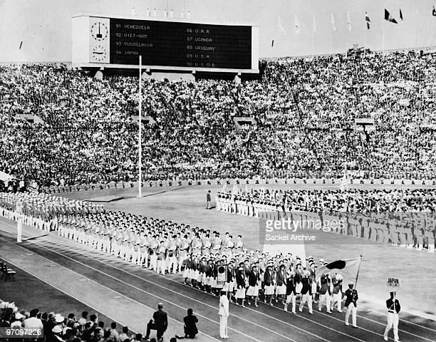 Japan delegation march during the opening ceremony of the Tokyo Olympic at the National Stadium on October 10 1964 in Tokyo Japan