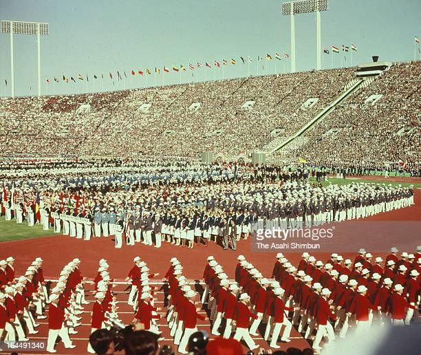 Japan delegation march on during Tokyo Olympic Opening Ceremony at the National Stadium on October 10 1964 in Tokyo Japan