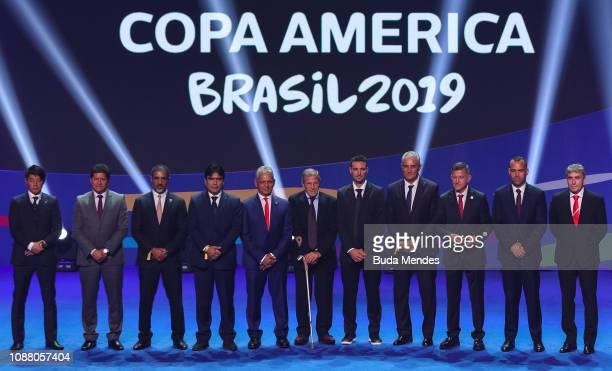 Japan delegation member Eduardo Villegas of Bolivia Qatar delegation member Colombia delegation member Reinaldo Rueda head coach of Chile Oscar...