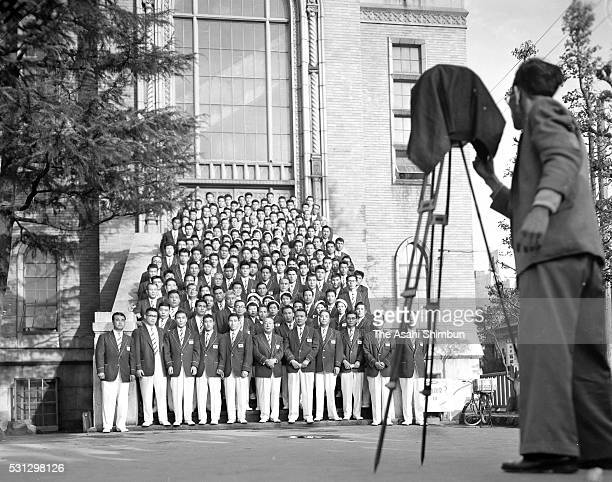 Japan delegation pose for photographs during the Melbourne Olympic Games Team Forming Ceremony on October 10 1956 in Tokyo Japan