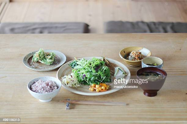 japan, dinner on wooden table - japanese food stock pictures, royalty-free photos & images