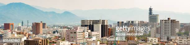 Japan Downtown Nagano Panoramic aerial view daytime sunny day