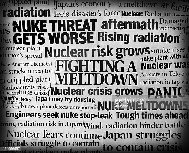 terremoto in giappone nuke catastrofe titolo collage - fusione del nocciolo di un reattore nucleare foto e immagini stock
