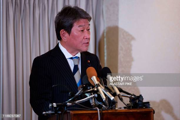 Japan Economy Minister Toshimitsu Motegi speaks during a press conference at a hotel in Washington, DC, on August 2, 2019.