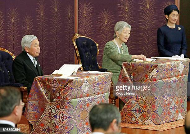 TOKYO Japan Emperor Akihito and Empress Michiko attend a lecture from a top researcher on Jan 10 during the annual kosho hajime no gi event part of...