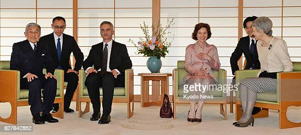 TOKYO Japan Emperor Akihito Swiss President Didier Burkhalter Burkhalter's wife and Empress Michiko meet at the Imperial Palace in Tokyo on Feb 3 2014
