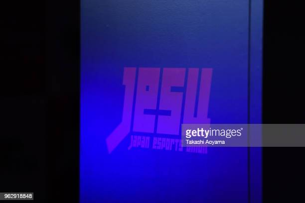 Japan esports Union logo is seen during the eSports Asian Games Japan Qualifying at LFS Ikebukuro on May 27 2018 in Tokyo Japan eSports is...