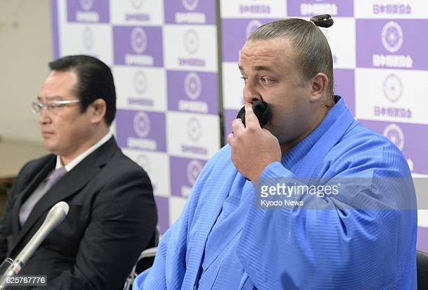 TOKYO Japan Estonian former ozeki Baruto holds a press conference to announce his retirement at Ryogoku Kokugikan hall in Tokyo on Sept 11 2013 To...