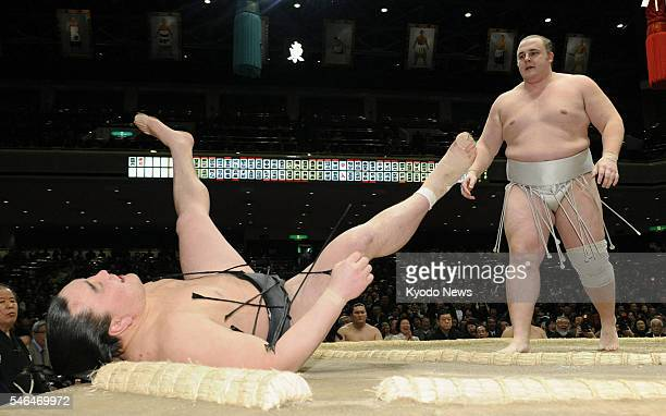 TOKYO Japan Estonian goliath Baruto beats fellow ozeki Harumafuji at the New Year Grand Sumo Tournament in Tokyo on Jan 17 2011