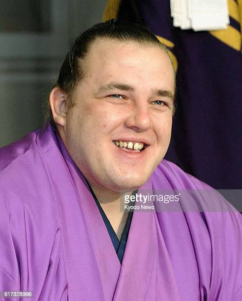 TOKYO Japan Estonian ozeki Baruto smiles during a press conference at the Onoe stable in Tokyo on Jan 23 a day after the grand finale of the New Year...