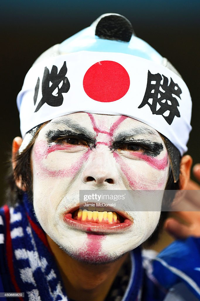 A Japan fan enjoys the atmosphere prior to the 2014 FIFA World Cup Brazil Group C match between Japan and Greece at Estadio das Dunas on June 19, 2014 in Natal, Brazil.