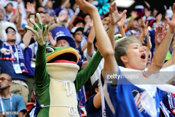 Japan fan in a frog outfit watches the 2018 FIFA World Cup Russia group H match between Colombia and Japan at Mordovia Arena on June 19 2018 in...