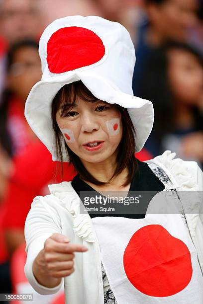 Japan fan looks on before Japan takes on the United States in the Women's Football gold medal match on Day 13 of the London 2012 Olympic Games at...