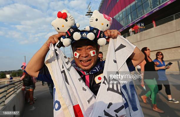 Japan fan poses outside Wembley Stadium before the USA takes on Japan in the Women's Football gold medal match on Day 13 of the London 2012 Olympic...