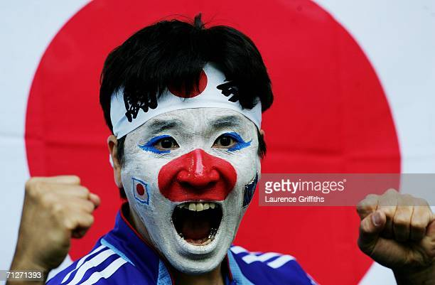 Japan fan shows his colours before the FIFA World Cup Germany 2006 Group F match between Japan and Brazil at the Stadium Dortmund on June 22 2006 in...