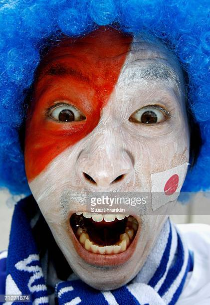Japan fan with face paint gives his support before the FIFA World Cup Germany 2006 Group F match between Japan and Brazil at the Stadium Dortmund on...