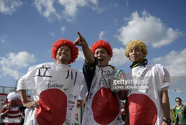 Japan fans are pictured before the start of a Pool B match of the 2015 Rugby World Cup between South Africa and Japan at the Brighton Community...