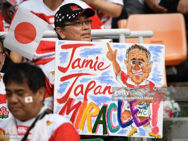 Japan fans before the Rugby World Cup 2019 Group A game between Japan and Ireland at Shizuoka Stadium Ecopa on September 28 2019 in Fukuroi Shizuoka...