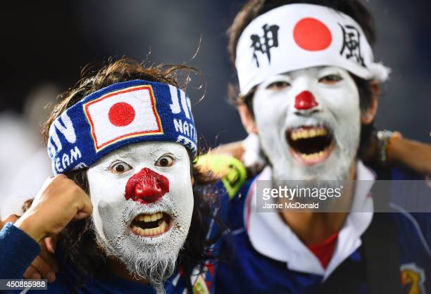 Japan fans enjoy the atmosphere prior to the 2014 FIFA World Cup Brazil Group C match between Japan and Greece at Estadio das Dunas on June 19 2014...