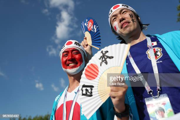 Japan fans enjoy the pre match atmosphere prior to the 2018 FIFA World Cup Russia group H match between Japan and Senegal at Ekaterinburg Arena on...