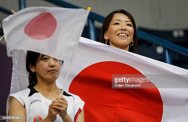Japan fans give their support prior the 2016 FIBA World Olympic Qualifying basketball Group A match between Japan and Latvia at Kombank Arena on July...