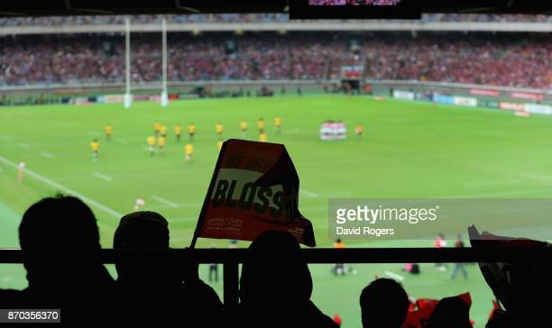 Japan fans look on during the rugby union international match between Japan and Australia Wallabies at Nissan Stadium on November 4 2017 in Yokohama...