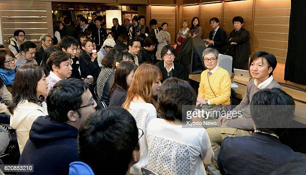 TOKYO Japan Fans of acclaimed Japanese author Haruki Murakami gather for a booklaunch event at Tsutaya bookstore in Tokyo's Shibuya Ward on the...