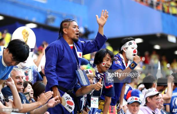 Japan fans show their support during the 2018 FIFA World Cup Russia group H match between Colombia and Japan at Mordovia Arena on June 19 2018 in...