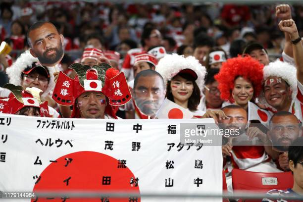 Japan fans show their support during the Rugby World Cup 2019 Group A game between Japan and Samoa at City of Toyota Stadium on October 05, 2019 in...