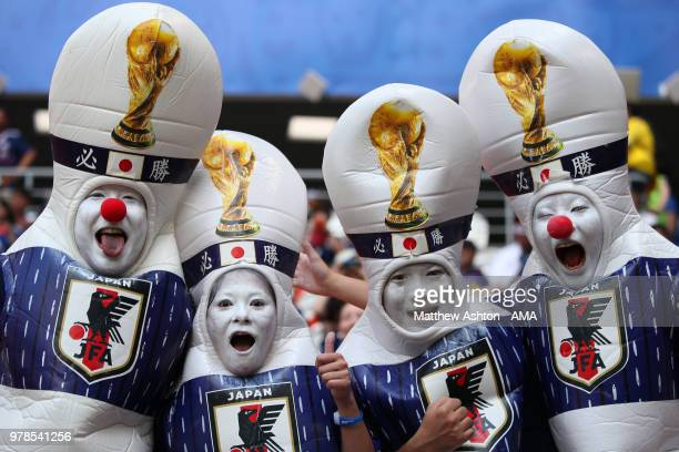 Japan fans show their support prior to the 2018 FIFA World Cup Russia group H match between Colombia and Japan at Mordovia Arena on June 19 2018 in...