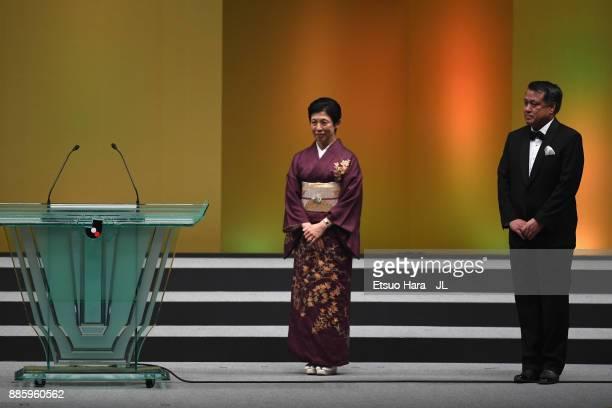 Japan Football Association Honorary Patron Princess Hisako of Takamado and Japan Football Association President Kozo Tashima attend the 2017 JLeague...