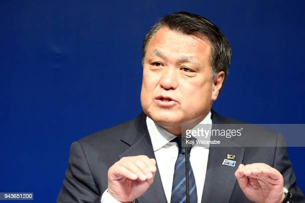 Japan Football Association President Kozo Tashima attends a press conference at the JFA House on April 9 2018 in Tokyo Japan Japanese FA fires Valid...