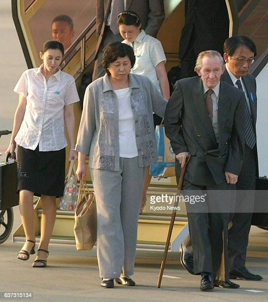 TOKYO Japan Former abductee by North Korea Hitomi Soga her husband Charles Jenkins and their first and second daughters Mika and Brinda arrive at...