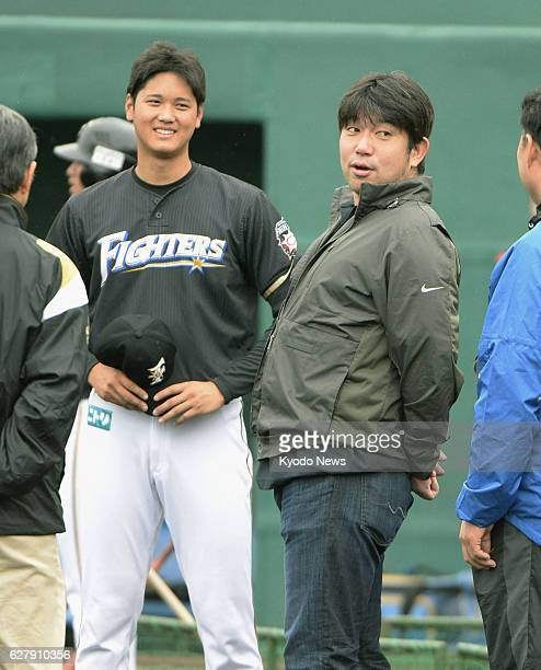 NAGO Japan Former Los Angeles Dodgers righthander Hideo Nomo is greeted by Nippon Ham Fighters pitcheroutfielder Shohei Otani at the Fighter's spring...