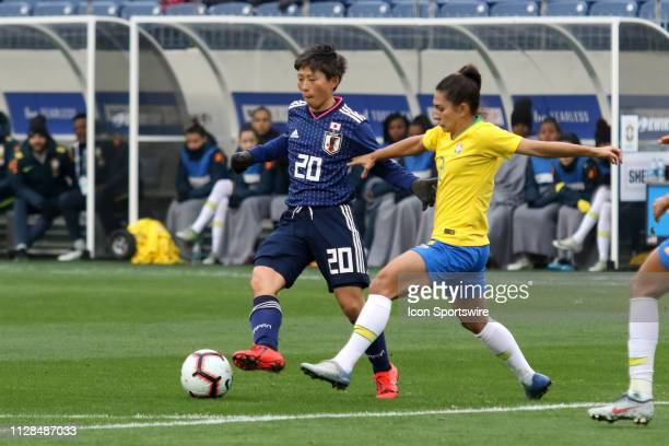 Japan forward Kumi Yokoyama during the She Believes Cup match between Brazil and Japan at Nissan Stadium on March 2nd 2019 in Nashville Tennessee