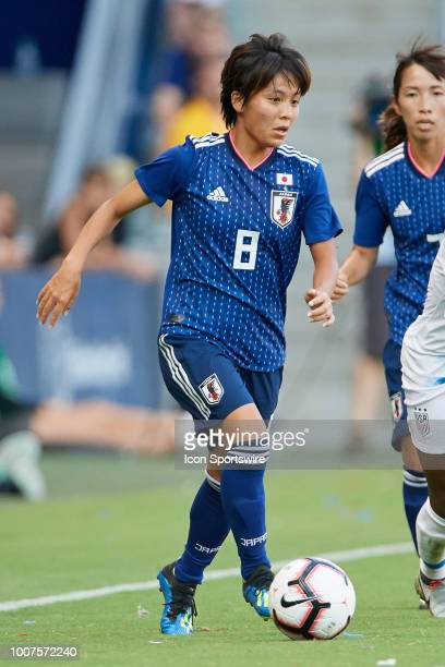 Japan forward Mana Iwabuchi dribbles the ball in game action during a Tournament of Nations match between the United States and Japan on July 26 2018...