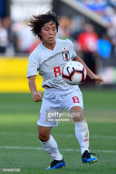 Japan forward Mana Iwabuchi handles the ball against Australia during the 2018 Tournament Of Nations at Toyota Park on August 2 2018 in Bridgeview...