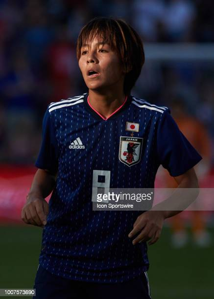 Japan forward Mana Iwabuchi looks on in game action during a Tournament of Nations match between the United States and Japan on July 26 2018 at...