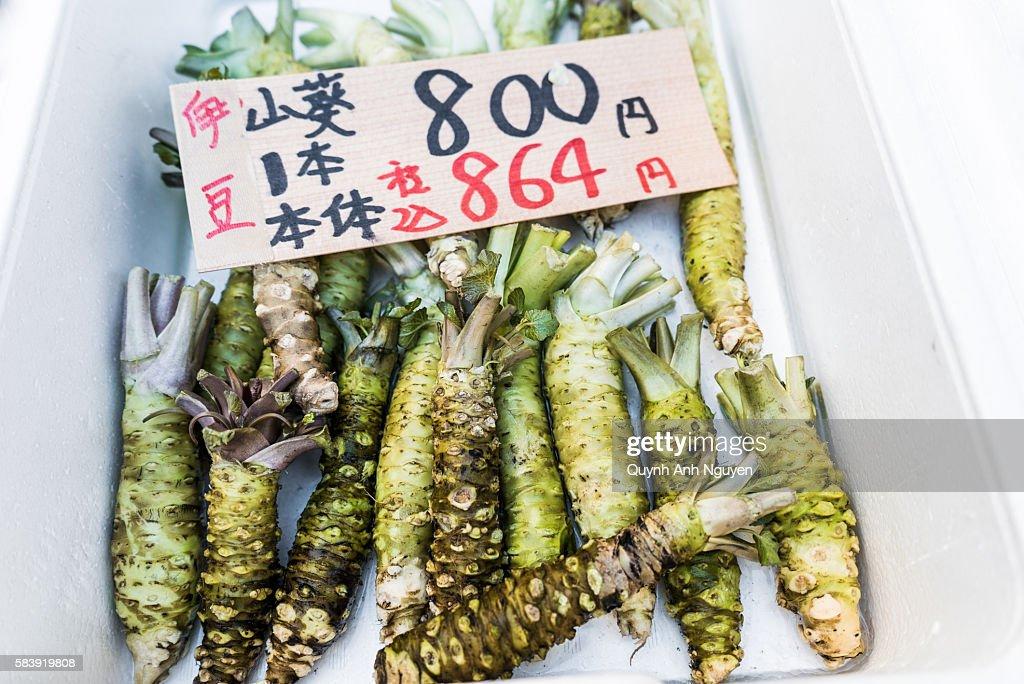 Japan -  Fresh wasabi (Japanese horseradish) for sale : Stock Photo